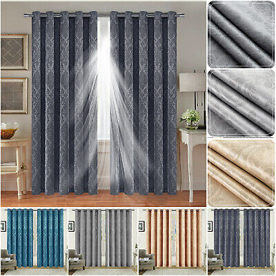Thick Thermal Blackout Curtains Eyelet Ring Top Ready Made Pair Curtains Panel • 21.99£