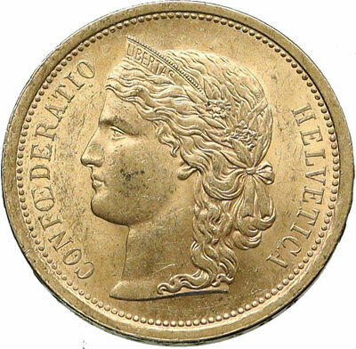 $2698.80 • Buy 1886 Switzerland LIBERTY & SHIELD Old Antique 20 Francs Gold Swiss Coin I85568