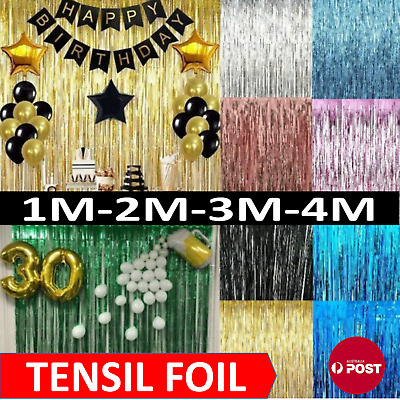 AU4.09 • Buy Metallic Tinsel Curtain Foil 1m 2m 3m 4m  Backdrop Function Party Decoration
