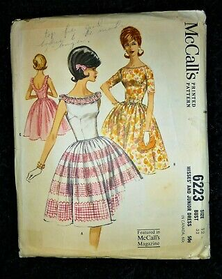 UNCUT VINTAGE 1960's McCALL's SEWING PATTERN 6223 ROCKABILLY FULL DRESS BUST 32  • 8.99£