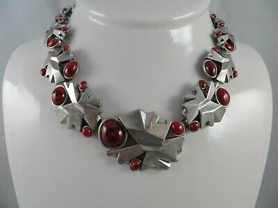 $ CDN65.84 • Buy Lia Sophia Silver Tone Necklace With Red Stones 17-1/4 To 19-1/2 Inches