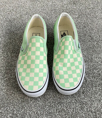 Vans Green & Ash White Checkerboard Classic Slip On Trainers Size 5 BNWT • 29.99£