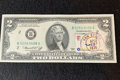"""$ CDN6.59 • Buy Unc 1976 $2 Two Dollar Bill Stamped """"first Day Of Issue"""" Note Postmarked"""