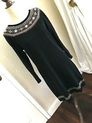Gorgeous Monsoon Size M 12/14 Fair Isle Embroidered Daisy Knitted Jumper Dress • 4.99£