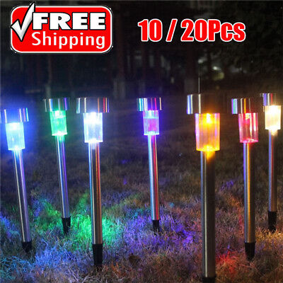 10/20 X Solar Powered LED Garden Lights Post Patio Outdoor Colour Changing Lamp • 12.19£
