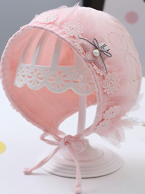 Baby Girls Spanish Romany Style Bonnet Hat Pink Rose White 0 - 12 Months • 8.49£