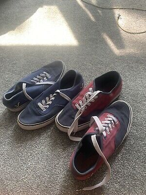 VOI JEANS Canvas Pumps Trainers 2 Pairs: Burgundy / Blue UK 10 • 20£