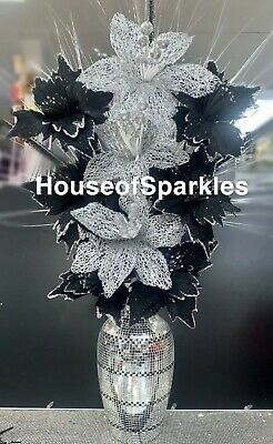 Silver And Black Mosaic Pattern Vase With Silver And Black Flowers • 33.99£