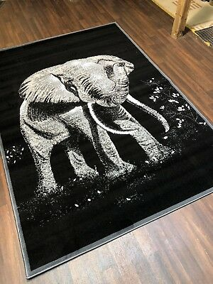 £29.99 • Buy Top Quality Bargain Rugs Black-grey Approx 6x4ft Best Around Stunning Elephants