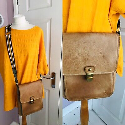 Joules Tan Leather Cross Body Bag Striped Adjustable Strap Gc • 9.99£