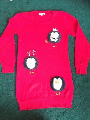 Red Penguin Christmas Jumper Dress. Blue Zoo Age 8-9 Years • 2.99£