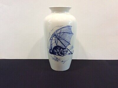 Vintage Poole Pottery Vase Decorated With A Blue Cat Sitting Under An Umbrella • 9.50£