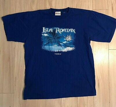 $ CDN14.95 • Buy Vintage Isla Roatan Carnival Cruise Lines Men's Blue Tee T Shirt Size Medium VTG