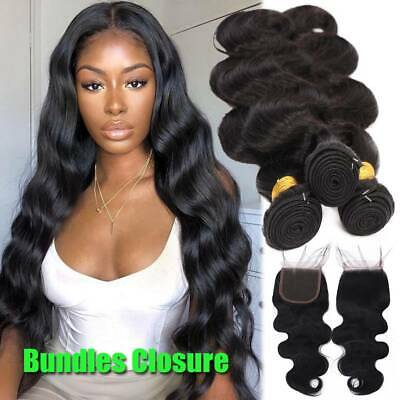 Pre Plucked Lace Closure With 3Bundles Virgin Human Hair Weave Indian Body Wave • 129.56£