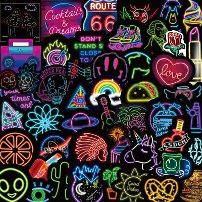 50PCS Neon Sign Stickers Bomb Graffiti Decal Pack Laptop Car Luggage Skateboard • 4.74£