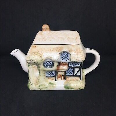 Vintage Ceramic Miniature Teapot Thatched Cottage Kitsch Retro Gift 8cm High • 9.99£