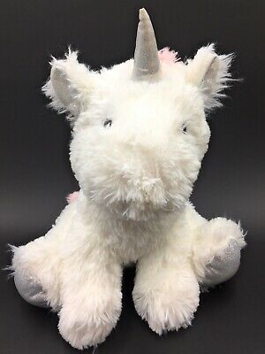 """White & Pink Unicorn Soft Toy With Sparkly Horn Ears & Feet 11"""" Sitting Horse • 13.99£"""