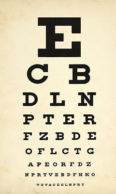 Framed Print - Antique Eye Chart (Picture Poster Snellen Optician Glasses Test) • 7.95£