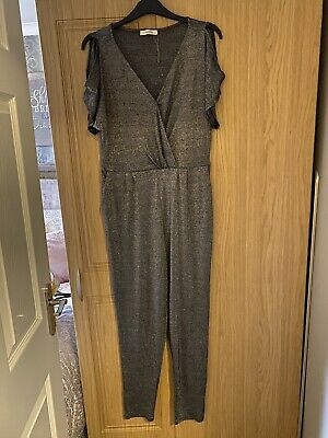 Oasis Silver Sparkly Jumpsuit Size L • 3£