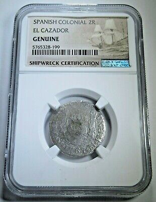 $ CDN118.57 • Buy 1767 El Cazador Shipwreck 2 Reales NGC Genuine 1700s Colonial Pirate Pillar Coin