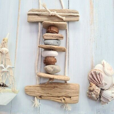 Driftwood Hanging Pebble Wooden Plaque Nautical Seaside Beach Theme Sign • 7.99£