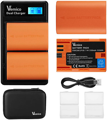 Vemico LP-E6 LP-E6N Battery Charger Set For Canon EOS 5D Mark IV 5D Mark III 5DS • 32.84£