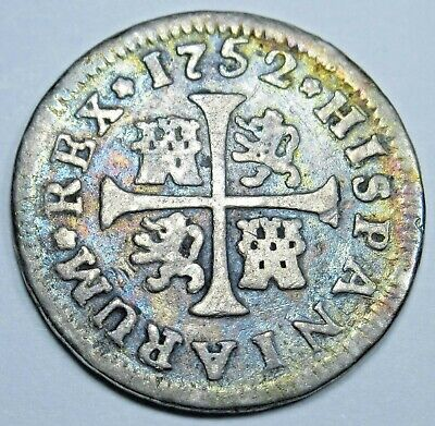 $ CDN118.57 • Buy 1752 Spanish Silver 1/2 Reales Antique 1700s Colonial Cross Pirate Treasure Coin