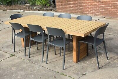 AU1599 • Buy Perry - 9 Piece Outdoor Setting - 2400mm Solid Teak Timber Table - Riley Chair