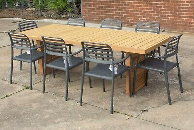 AU1599 • Buy Perry - 9 Piece Outdoor Setting - 2400mm Solid Teak Timber Table - Zeke Chair