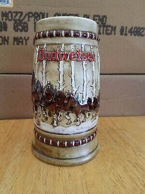 $ CDN106.66 • Buy 1981 Budweiser HOLIDAY BEER STEIN Clydesdales Snowy Woodland Birch Trees  Rare