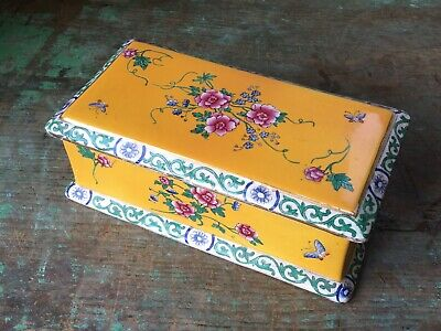 C1910 Antique Maling Cetem Ware Yellow Chinoiserie Pottery Trinket Toilet Box Af • 22£