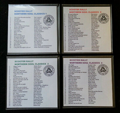 TOP 100 NORTHERN SOUL - SCOOTER RALLY CLASSICS  ~ 4 CDs ❤ FOR DJ USE ONLY ❤ • 7.50£