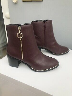 NEW LOOK Oxblood / Burgundy Ankle Boot Size 7/40 Wide Fit • 14£
