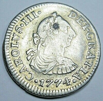 $ CDN108.75 • Buy 1774 Spanish Mexico Silver 1/2 Reales Genuine Antique 1700s Colonial Pirate Coin