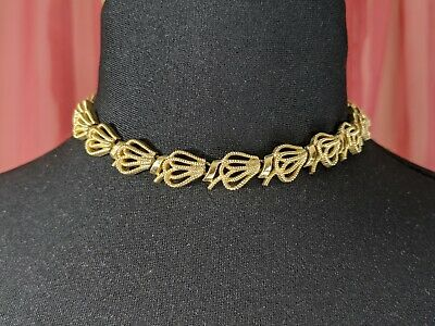 £87 • Buy Lovely Vintage Gold-tone Ribbon Design Necklace By Trifari Jewellery