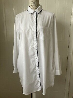 Zara White/ Black Bobble Trim  Poly/Cotton Long Tunic Shirt With Pockets. XL • 8.99£