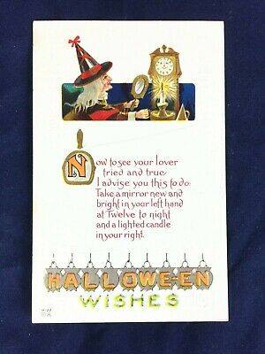 $ CDN26.65 • Buy Vintage Halloween Embossed Postcard Nash H-22 Witch With Hand Mirror And Clock
