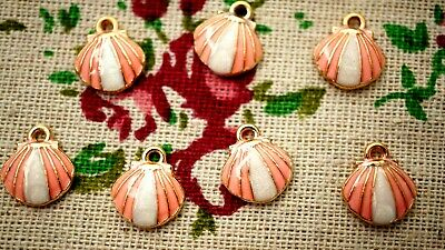 Shell Charms 4 Pink & White Enamel Gold  Pendant Charm Jewellery Supplies • 2.99£