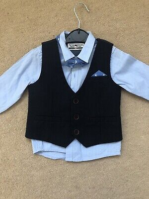 Baby Boy Shirt Waitscoat And Bow Tie Next Yachts 9-12 Months • 4£