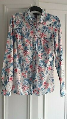 Long Tall Sally White Tropical Print Fitted Shirt 100% Cotton Size 12 • 4.50£