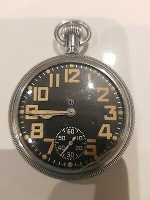Wwii Waltham  Military Black Faced Pocket Watch With Inner Second Hand 9 Jewels • 250£