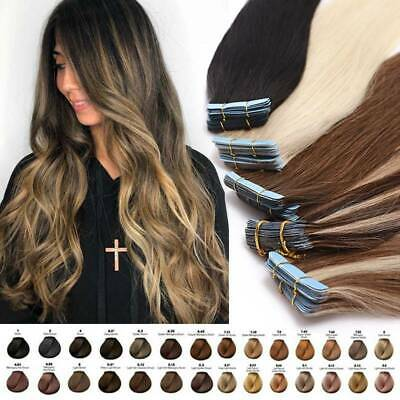 UK CLEARANCE Tape In Russian Remy Human Hair Extensions Skin Weft THICK 150G 8A • 13.03£