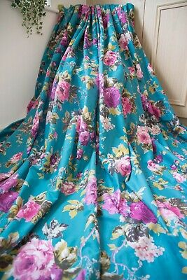 Teal Pink Green Joules Style Bold Floral Cotton Tab Top Curtains,63wx72d,1of2 • 69.25£