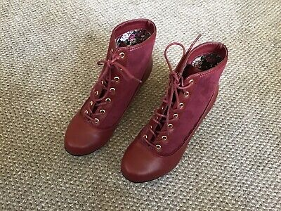 Joe Browns Oxblood Burgundy Victorian Style Lace Up Ankle Boots 5 Unworn • 15£