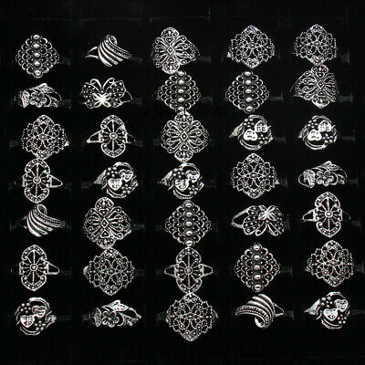 $ CDN1.34 • Buy 10pcs Wholesale Jewelry Lots Mixed Style Tibet Silver Vintage Rings Free Ship