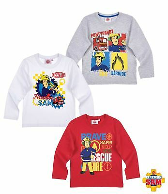 Long Sleeve Shirt Boys Fireman Sam Jumper Grey White Red 98 104 110 116 128 #92 • 12.32£