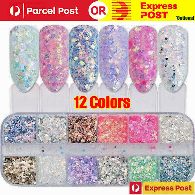 AU4.88 • Buy 12 Color Holographic Nail Sparkle Glitter Sequins Flakes Confetti FULL BEAUTY