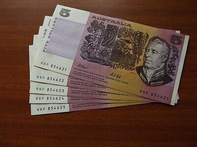 AU31 • Buy 1991 - $5 Dollar Paper Banknotes - 5 Consecutive Numbers - Fraser/Cole