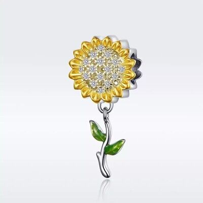 AU26.90 • Buy SUNFLOWER S925 Sterling Silver Charm By Charm Heaven