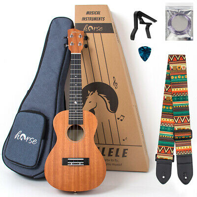 AU64.99 • Buy Horse Tenor Ukulele Mahogany 26 Inch For Beginer W/Bag Tuner Strap String Capo